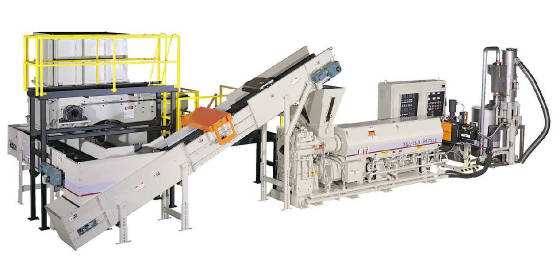 Traditional, shredder/single screw extruder recycling line